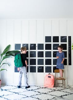 Working on a giant DIY chalkboard calendar made with black contact paper to get the whole family ready for the school year @kohls…
