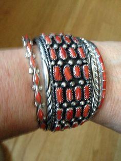 Coral sterling vintage bracelets