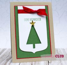 Festival of Trees punched banner Simple Christmas Cards, Christmas Cards To Make, Xmas Cards, Holiday Cards, Holiday Decor, Christmas Trees, Hand Stamped Cards, Baby Cards, Stampin Up Cards