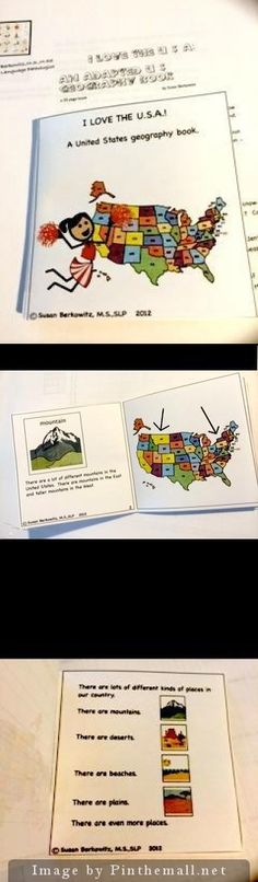 Adapted U.S. Geography book and materials: I Love the USA.  Expository text for special education. Covers CCSS for answering questions from text, close reading, answering Wh-questions, tell meaning of words in text, compare/contrast. $  Includes 25 pg book with Symbol Stix, 2 communication boards, 20 pages of vocabulary activities, 5 pages vocabulary cards, and more. http://www.teacherspayteachers.com/Product/An-adapted-USGeography-book-for-Autism-Special-Education-I-Love-the-USA-462475…