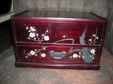 VINTAGE FLAIR ASIAN CHERRY WOOD JEWELRY MUSIC BOX