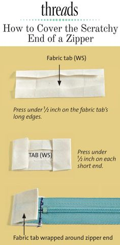 Sewing Techniques Couture How To Cover The Scratchy End Of A Zipper - With this clever sewing tip from Threads Sewing Hacks, Sewing Tutorials, Sewing Crafts, Sewing Tips, Sewing Ideas, Techniques Couture, Sewing Techniques, Leftover Fabric, Love Sewing