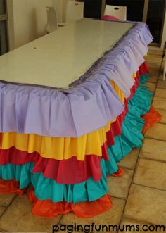 Instead of using a basic tablecloth for her daughter's birthday party, she took it to the next level by doing this!