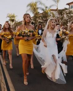 Best fall wedding yellow bridesmaids happily and they are running dress ideas ideas videos Yellow Bridesmaids, Wedding Bridesmaid Dresses, Wedding Gowns, Yellow Wedding, Fall Wedding, Dream Wedding, Budget Wedding, Rustic Wedding, Wedding Country