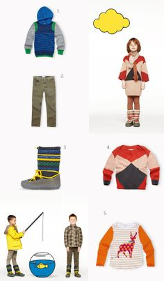 {1.Sweater 2. Tapered 3. Rainbow Snowboots 4. Jumper 5. T-shirt} Stella McCartney Kids says LAYER UP this season. I picked out some orange and blues for the boys and girls. Favorite sweater would be that moustache reindeer. How cute is...