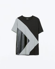 Image 5 of T-SHIRT WITH FAUX LEATHER TRIANGLE DETAIL from Zara
