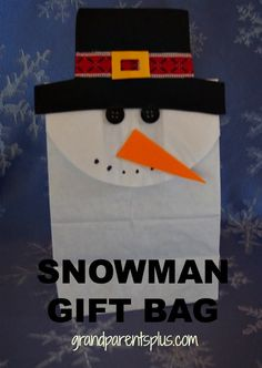 This Snowman Gift Bag is a unique way of wrapping any small present. It's a gift that will get noticed for sure! This DIY project is simple enough for kids to make, too! It makes a fun classroom art activity or just a special project for home.