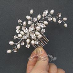 Wedding Hair Accessories Pearl Rhinestone Bridal by adriajewelry