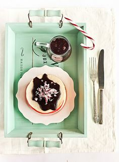 Red & White Christmas Pancakes with Candy Cane Chocolate Syrup by raspberri cupcakes, via Flickr
