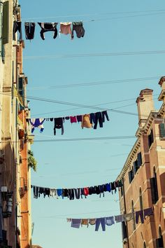 Laundry hanging out to dry in Venice, Italy