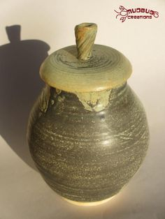 Ceramic Jar  Grey White and Green Tones by MudbugCreations on Etsy, $35.00