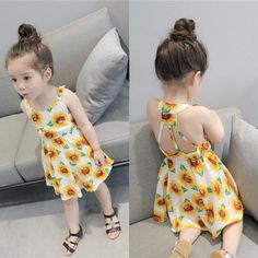 Girls' Clothing (Sizes 4 & Up) Infant Baby Girls Sunflower Print Sleeveless Backless Floral Dress Outfits Cotton Frocks For Kids, Frocks For Girls, Dresses Kids Girl, Little Girl Outfits, Kids Outfits, Baby Girl Fashion, Toddler Fashion, Kids Fashion, Floral Dress Outfits