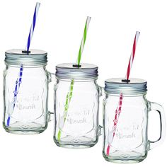 AMOS Clear Glass Cocktail Wine Beer Drinking Drink Handled Jam Jars With Twist Lids & Straws Tennessee Jeremiah Party Glasses Tumblers 450ml (3)