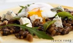 Balsamic caramelized mushroom crepes with blue cheese and a poached egg are everything you need for a delicious snack. Check it out y'all! Poached Eggs, Blue Cheese, Yummy Snacks, Quick Meals, Crepes, Caramel, Stuffed Mushrooms, Beef, Check