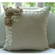 Decorative Throw Pillow Covers Accent Pillow Couch 16 Inch Beige Linen Pillow Cover Jute  Pearl Embroidered Bedding Home Decor Jute Blooms