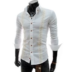 (CE63-WHITE) Slim Fit Lace Patched Long Sleeve Stretchy Shirts