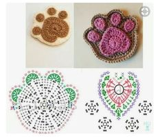 Crochet Paw Coaster You Can Make Easily - Diy Crafts - maallure Crochet Flower Patterns, Crochet Designs, Crochet Flowers, Crochet Diagram, Crochet Motif, Crochet Stitches, Crochet Gifts, Diy Crochet, Crochet Toys