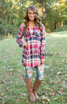 Taste of Country Plaid Button Up Magenta