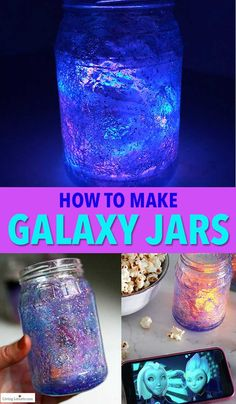 How to make Glow in the Dark Galaxy Jars. An easy mason jar craft! Light up your galaxy jars, pop some popcorn and snuggle up for an out of this world adventure! Kids craft tutorial and party decor idea. Crafts For Teens To Make, Winter Crafts For Kids, Preschool Crafts, Diy Crafts For Kids, Fun Crafts, Spring Crafts, Room Crafts, Quick Crafts, Simple Crafts