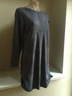Posh Frenzy Joh New nwt Charcoal Gray Suede Look Tunic Shirt Top/ Dress Small S