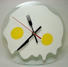 Kitchen Wall Clock Fried Eggs Hand Painted Glass Home by ArtMasha Diy Clock, Clock Decor, Clock Ideas, Hand Painted Walls, Painted Doors, Pictures For Kitchen Walls, Wall Clock Hands, Rock Around The Clock, Deco Luminaire