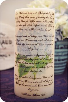 Once again, I was inspired by Jaime Lyn at Crafty, Scrappy, Happy for this project, with images from The Graphics Fairy. Personalized Candles, Custom Candles, Diy Candles, Pillar Candles, Diy Old Books, Book Flowers, Craft Projects, Craft Ideas, Diy Ideas