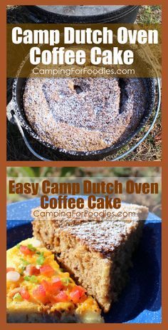 Leisurely catch a beautiful sunrise at the campsite with a cup of coffee and warm piece of cinnamon and brown sugar Easy Camp Dutch Oven Coffee Cake! I like to serve it with something savory on the side too. Dutch Oven Desserts, Dutch Oven Recipes, Camping Meals, Camping Recipes, Camping Cooking, Camping Life, Camping Hacks, Cast Iron Cooking, Oven Cooking
