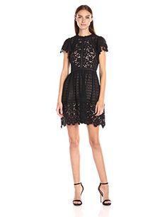 89f78dbcf78840 Rebecca Taylor Women's Ss Lace Mix Dress, Black, 6 Rebecc... #women  #clothing #dress #fashion #shopping #style