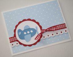 Airplane Baby Shower Invitations - first birthday or christening - baby boy - set of 12. $30.00, via Etsy.