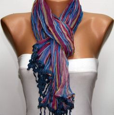 Red Blue Scarf by Fatwoman $17.00