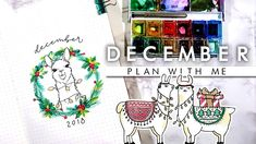 December plan with me is ready to go! And to celebrate Christmas why not do a happy llama festive theme! This bullet journal setup is silly and fun with sup. Bullet Journal Christmas, Notebook Ideas, Bullet Journal Inspiration, Bullet Journals, Journaling, December, How To Plan, Caro Diario