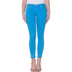TRUE RELIGION Halle Crop French Blue // Skinny crop jeans ($225) ❤ liked on Polyvore featuring jeans, blue jeans, super stretch skinny jeans, stretch denim skinny jeans, blue skinny jeans and denim skinny jeans