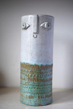 atelierstella:    Atelier Stella. Tall happy faced vase.