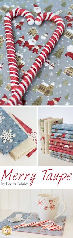 Merry Taupe by Lecien Fabrics. Merry Taupe is a new, vintage-inspired, holiday collection now available at Shabby Fabrics!