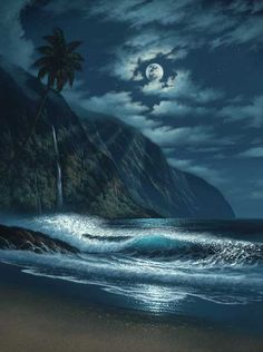 Something about the moon and a beach - beautiful.