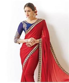 """Chiffon #Saree with Blouse 