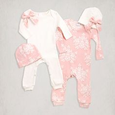 Newborn Girl Take Home Romper and Optional Hat. Baby girl will look picture perfect in these cotton rib rompers and matching hats. Easy pull on rompers