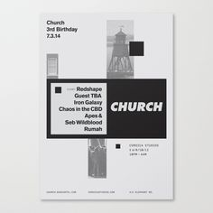 """apexministry: """" Poster designed for the 3rd birthday of London based techno label, Church. """""""