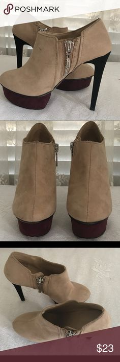 """ZARA Nude Stiletto Ankle Bootie ZARA Basics stiletto platform booties with side zipper. Nude upper, black stiletto, and burgundy platform.  Stiletto black and aortic 5"""" with burgundy platform approx 1.5"""". Worn 1 time. ZARA Shoes Ankle Boots & Booties"""