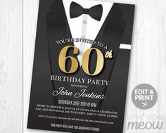 60th Birthday Invite Invitation SIXTY Black Tie Elegant Secret Agent Spy Party INSTANT DOWNLOAD Editable Bond Tuxedo Personalize Printable