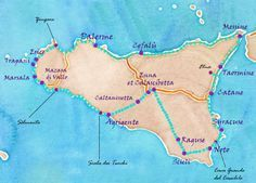 Watercolor map and route idea to go around Sicily - landralugiery - Pctr UP Catania Sicily, Taormina Sicily, Italy Vacation, Italy Travel, Italy Culture, Adventures Abroad, Living On The Road, Watercolor Map, Voyage Europe