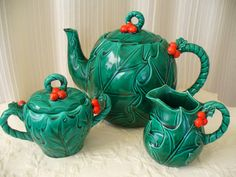 Vintage Holly Berry Teapot Set  Holiday Tea Party by vintageriches, $44.00
