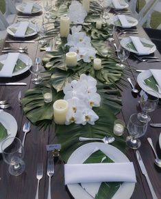 Tropical-themed table set-up with classy combination of greens and white. Super easy table set up! Tropical-themed table set-up with classy combination of greens and white. Super easy table set up! Tropical Party, Tropical Decor, Tropical Wedding Decor, Tropical Weddings, Tropical Interior, Summer Weddings, Orchid Wedding Theme, Hawaiian Wedding Themes, Wedding Flowers
