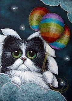 TUXEDO ANGEL CAT WITH 3 RAINBOW BALLOONS