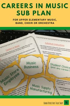 Emergency Sub Plans Middle School Awesome Music Sub Plan Careers In Music for Band orchestra or Music Sub Plans, Music Lesson Plans, Music Classroom, Music Teachers, Future Classroom, Classroom Tools, Teacher Tools, Piano Lessons, Music Lessons