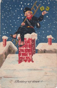 Happy New Year Chimney Sweep Ramoneur Luck Sharmrocks Winter Fantasy | eBay