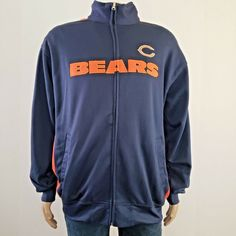 c72d3a725 Nfl Chicago Bears Track Jacket Full Zip Football Team Apparel Navy XLT  NFL   ChicagoBears
