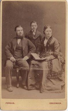 CDV photo of a victorian family was taken in Greenock, Scotland around 1880s by the Fergus studio.