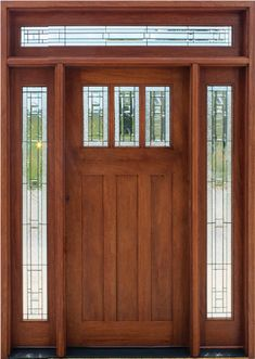 Solid Mahogany Wood Exterior Doors with Sidelights and Rectangular Transoms. Exterior Doors With Sidelights, Exterior Doors For Sale, Wood Exterior Door, Craftsman Style Front Doors, Craftsman Door, Front Door Colors, Front Door Decor, Rustic Doors, Wooden Doors