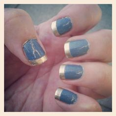 Cute Glittery Grey Blue With Gold Nail Art Design